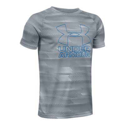 Under Armour Boys' Big Logo Printed Hybrid 2.0 Tech T Shirt