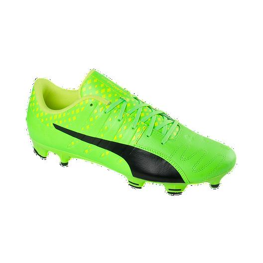 3bbcf8757 PUMA Men s EvoPower Vigor 3 FG Leather Outdoor Soccer Cleats - Green Black