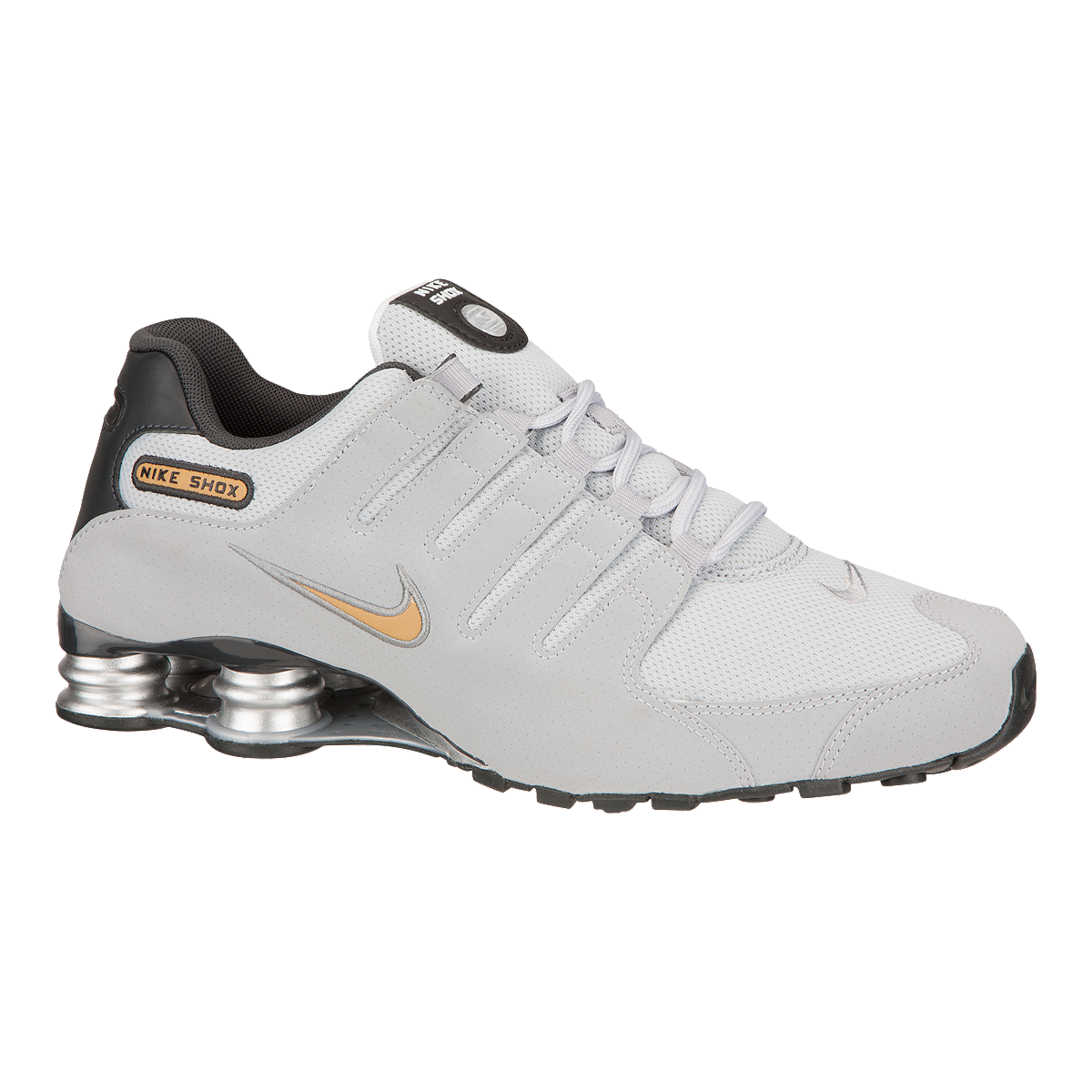 buy popular bc2b9 f3f2e Nike Men's Shox NZ Men's Shoes - Grey/Gold | Sport Chek