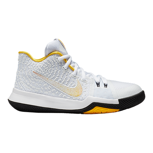 b07dcb36c65d Nike Kids  Kyrie 3 N7 Grade School Basketball Shoes - White Yellow Black