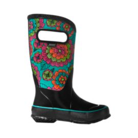 Bogs Classic Pansies Black Girls' Rain Boots