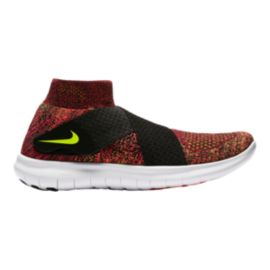 Nike Women's Free RN Motion FlyKnit 2017 Running Shoes - Red/Volt Green/Black