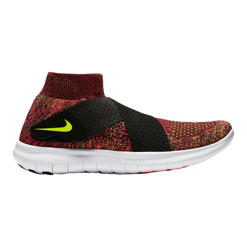 6d8e15ae500 Nike Women s Free RN Motion FlyKnit 2017 Running Shoes - Red Volt  Green Black