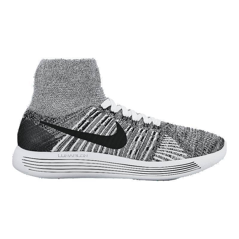 Nike Women s FlyKnit LunarEpic Running Shoes - White Black  03741f871