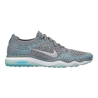 Nike Women's Air Zoom Fearless FlyKnit Training Shoes - Grey/Blue