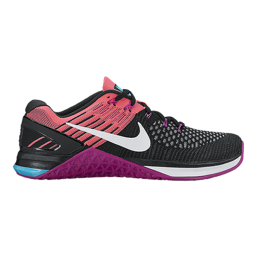 5fc9b819b10f Nike Women s Metcon DSX FlyKnit Training Shoes - Black Pink Purple ...