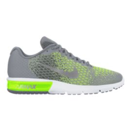 Nike Men's Air Max Sequent 2 Running Shoes - Stealth Grey/Volt Green