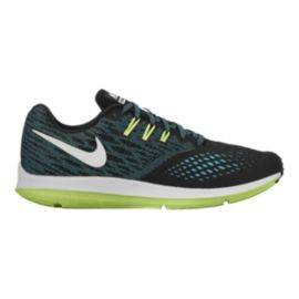 Nike Men's Zoom Winflo 4 Running Shoes - Black/Teal/Volt Green