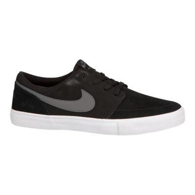 Nike Men's SB SolarSoft Portmore II Solar Skate Shoes - Black/Grey/White