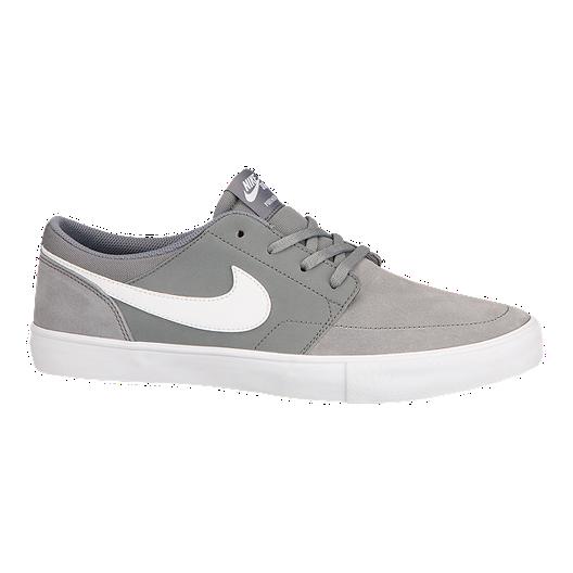 127facd9e6a0 Nike Men s SB SolarSoft Portmore II Solar Skate Shoes - Grey White ...