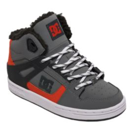 DC Kids' Rebound WNT High-Top Grade School Skate Shoes - Grey/Black/Orange