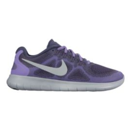 Nike Women's Free RN 2017 Running Shoes - Purple Pattern/Platinum