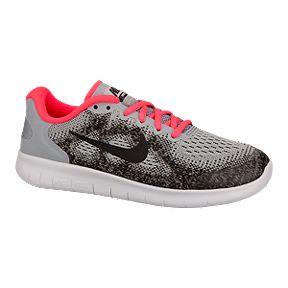 64a6f51ebbdf Nike Girls  Free Run 2 Grade School Running Shoes - Grey Pink