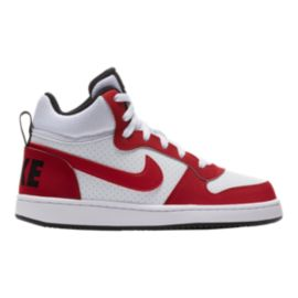 Nike Kids' Court Borough Mid Grade School Shoes - White/Red/Black