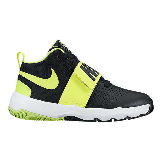 8f2caaf7711 Nike Kids  Team Hustle D 8 Grade School Basketball Shoes - Black Volt Green