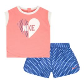Nike Baby Girls' Heart All Over Print T Shirt & Shorts Set