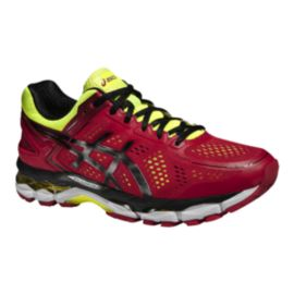 ASICS Men's Gel Kayano 22 Running Shoes - Red/Lime Green/Black
