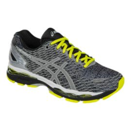 ASICS Men's Gel Nimbus 18 LS Men's Running Shoes - Black Grey Pattern/Yellow