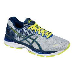 ASICS Men s Gel Nimbus 18 Running Shoes - Silver Blue Lime Green ... 8b09477bb7