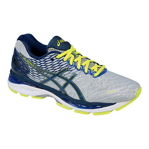5bd15518 ASICS Men's Gel Nimbus 18 Running Shoes - Silver/Blue/Lime Green
