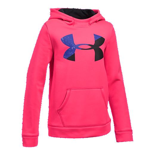 3e053e4e Under Armour Girls' Armour® Fleece Big Logo Hoodie | Sport Chek