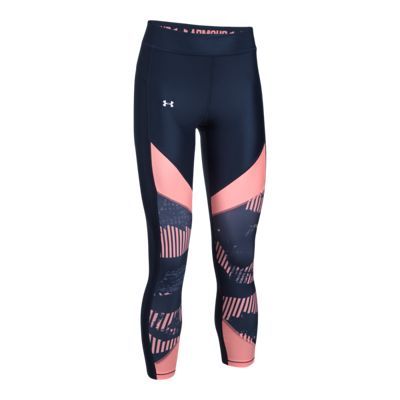 Under Armour Women's HeatGear Color Blocked Printed Crop Tights