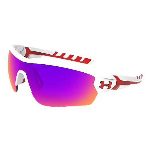 8eeb795060f7 Under Armour Rival Sunglasses- White/Red with Gray/Infrared Multiflection  Lenses   Sport Chek