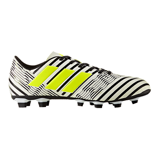 0843fb2494d1 adidas Men s Nemeziz 17.4 FG Outdoor Soccer Cleats - White Yellow Black