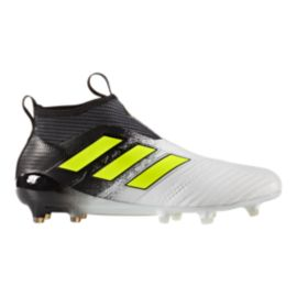 adidas Men's Ace 17+ Pure Control FG Outdoor Soccer Cleats - White/Yellow/Black