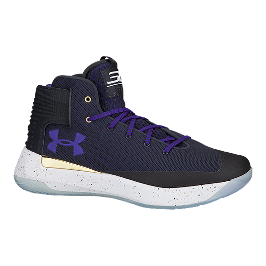 1e9a1b1eac60 Under Armour Men s Curry 3Zero Basketball Shoes - Black Navy Purple ...