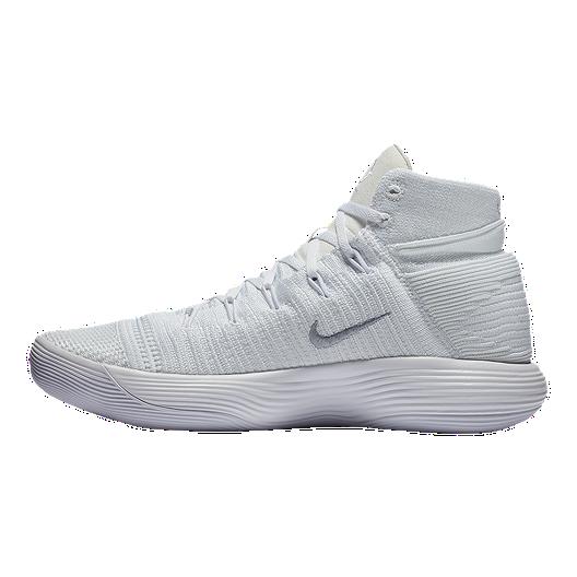 5ef606c2491 Nike Men s Hyperdunk 2017 Flyknit Basketball Shoes - White Silver ...