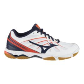 Mizuno Women's Hurricane 3 Indoor Court Shoes - White/Navy/Coral