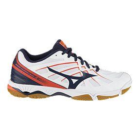 timeless design 42db3 1fd02 Mizuno Women s Hurricane 3 Indoor Court Shoes - White Navy Coral