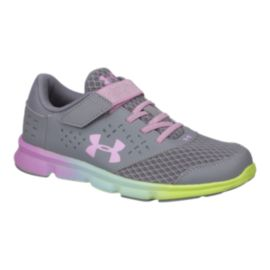 Under Armour Girls' RN Prism AC Preschool Shoes - Grey/Pink