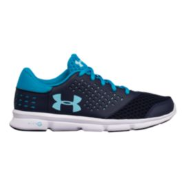 Under Armour Girls' Micro Rave RN Grade School Shoes - Navy/Blue/White
