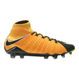Nike Men's HyperVenom Phantom III DF FG Outdoor Soccer Cleats - Orange/White/Black