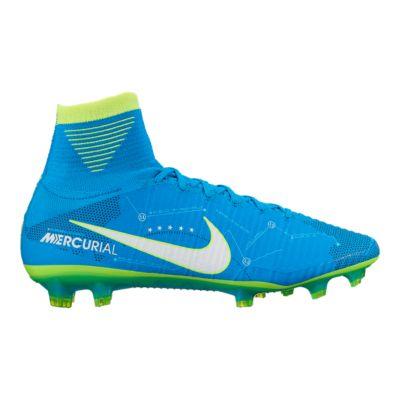 Nike Men\u0027s Mercurial Superfly V NJR FG Outdoor Soccer Cleats - Blue/Green  Volt