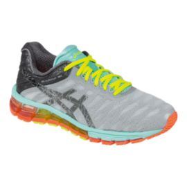 ASICS Women's Gel Quantum 180 Running Shoes - Silver/Teal Blue/Orange