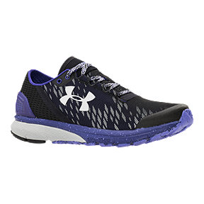Under Armour Women's Charged Bandit 2 Night Running Shoes - Black Pattern/Purple