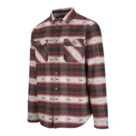 Burton Men's Brighton Burly Sherpa Flannel Long Sleeve Shirt - Fired Brick Azrek Red