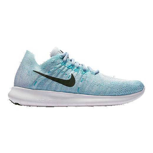 b445e61a9 Nike Women's Free RN Flyknit 2017 Running Shoes - Blue/Green - BLUE TINT/