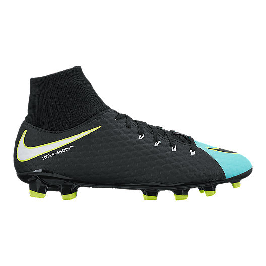 6b9724139e66 Nike Women s HyperVenom Phelon III DF FG Outdoor Soccer Cleats -  Black Aqua White