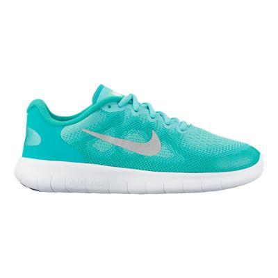 Nike Girls' Free RN 2017 Grade School Shoes - Green/White