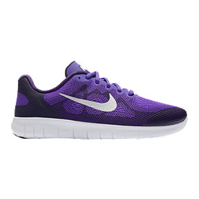 Nike Girls' Free RN 2017 Grade School Shoes - Purple/White