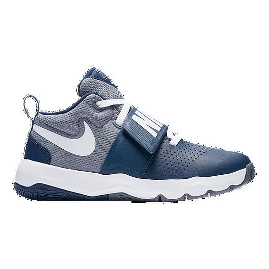 d3b22c47ba751 Nike Kids' Team Hustle D 8 Grade School Basketball Shoes - Grey/Navy |  Sport Chek