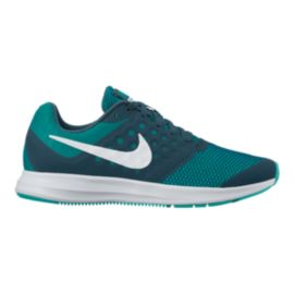Nike Girls' Downshifter 7 Grade School Shoes - Green/White