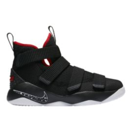 Nike Kids' Lebron Soldier XI Grade School Basketball Shoes - Black/Red/White