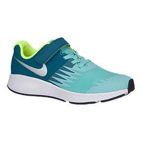 Nike Girls Star Runner Preschool Shoes Green Silver White