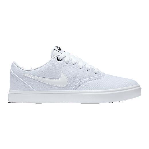 info for eec45 f6035 Nike SB Women s Check SS Canvas Skate Shoes - White Black - WHITE WHITE