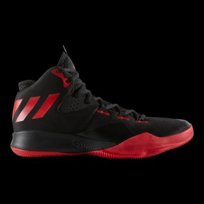 adidas uomini è duplice minaccia scarpe da basket scarlet / nero / bianco